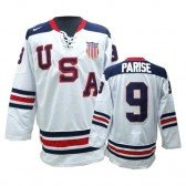 Olympic Hockey Team USA Zach Parise Authentic Men's Nike White Jersey: #9 1960 Throwback