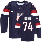 2014 Olympic Hockey Team USA T. J. Oshie Authentic Men's Nike Navy Blue Jersey: #74 Away