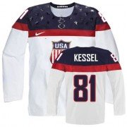 2014 Olympic Hockey Team USA Phil Kessel Authentic Women's Nike White Jersey: #81 Home