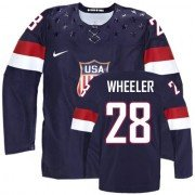 2014 Olympic Hockey Team USA Blake Wheeler Premier Youth Nike Navy Blue Jersey: #28 Away