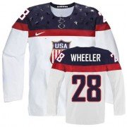 2014 Olympic Hockey Team USA Blake Wheeler Authentic Women's Nike White Jersey: #28 Home